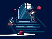 Novio y muchacha cariñosos stock de ilustración