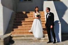 Novio y novia Imágenes de archivo libres de regalías
