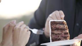 Novio y novia que cortan el primer pedazo de torta almacen de video