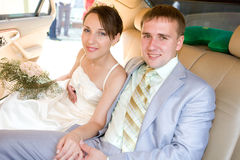 Novio y novia sonrientes del retrato imagen de archivo