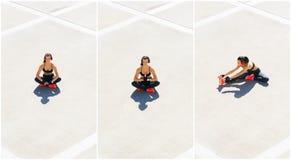 Novo, ajuste e treinamento desportivo da menina exteriores Aptidão, esporte, movimentar-se urbano e conceito saudável do estilo d foto de stock royalty free