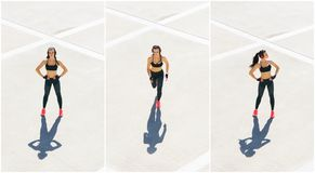 Novo, ajuste e treinamento desportivo da menina exteriores Aptidão, esporte, movimentar-se urbano e conceito saudável do estilo d fotos de stock royalty free