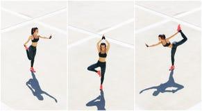 Novo, ajuste e treinamento desportivo da menina exteriores Aptidão, esporte, movimentar-se urbano e conceito saudável do estilo d imagem de stock