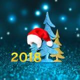 2018 novo Ano novo feliz 2018 números no fundo azul Imagens de Stock Royalty Free