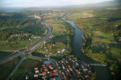 Novo Mesto from Air Royalty Free Stock Photo