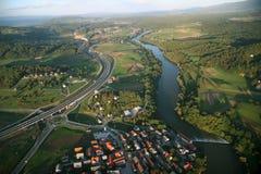 Novo Mesto from Air. High angle shot from a balloon. Novo Mesto with surrounding countryside. Slovenia Royalty Free Stock Photo