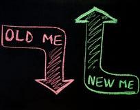 Novo mim substituição velha mim conceito, escrita no quadro-negro fotos de stock royalty free