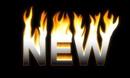 NOVO! NOVO flamejante. Fotografia de Stock