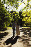 Novo-weds a caminhada em torno do parque na noite Fotos de Stock