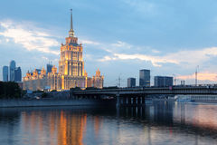Novoarbatsky bridge and Hotel Ukraine Stock Photos