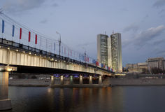 Novoarbatsky bridge. And Moscow Government building Royalty Free Stock Photography