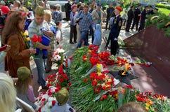 Novocheboksarsk Ryssland - Maj 9, 2016: Beröm av Victory Da Royaltyfri Fotografi