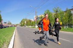 Novocheboksarsk Ryssland - Maj 9, 2016: Beröm av Victory Da Fotografering för Bildbyråer