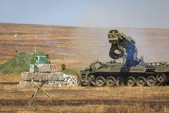 NOVOCHERKASSK, RUSSIA, 26 AUGUST 2017: The modern Russian armored combat engineer machine IMR-2 in the process of work at the mili Royalty Free Stock Image
