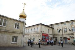 Novocherkassk Suvorov military school of the MIA of Russia. NOVOCHERKASSK, RUSSIA - SEPTEMBER 12, 2014: Suvorov military school of the Ministry of internal Royalty Free Stock Images