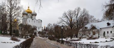 Novodevichy女修道院冬天全景  莫斯科 俄国 免版税图库摄影