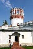 Novodevichy Bogoroditse-Smolensky修道院-正统女修道院在Devichie领域的莫斯科在Moskva河的弯, Th的 库存照片