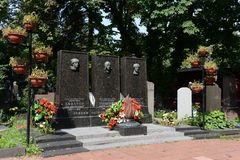 The Novodevichy cemetery. The tomb of Heroes of the Soviet Union Lev Dovator, Victor Talalikhin and Ivan Panfilov Royalty Free Stock Photography