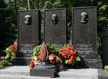 The Novodevichy cemetery. The tomb of Heroes of the Soviet Union Lev Dovator, Victor Talalikhin and Ivan Panfilov Stock Photo