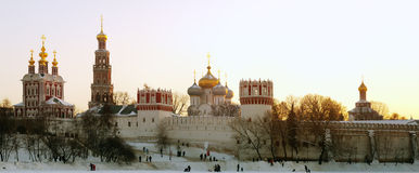 Novodevichy Convent. Frosty evening near the Novodevichy Convent in Moscow Stock Photo