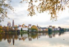Novodevichy convent. With reflection in pond in Moscow, Russia Royalty Free Stock Image