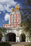 Novodevichy convent. The Church of the Transfiguration over the North gate Royalty Free Stock Image