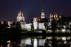 Novodevichy Convent at dark night Stock Image