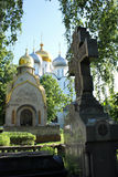 Novodevichy Convent, Moscow. Grave with the famous Novodevichy Convent in the background, also known as Bogoroditse-Smolensky Monastery. In 2004, it was Stock Image