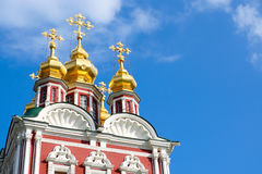 Novodevichy Convent in Moscow. Church Savior Transfiguration over the north gate. Fragment. Stock Image