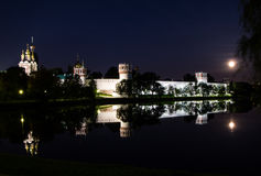 Novodevichy Convent, Moscow, Russia. Novodevichy Convent at night in the moonlight Royalty Free Stock Images