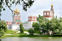Novodevichy Convent in Moscow. View of the Novodevichy Convent and pond in Moscow Stock Photo