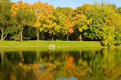 Novodevichy Convent park and pond in autumn. Reflection. Novodevichy Convent park and pond in autumn Stock Photo
