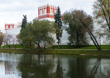 Novodevichy Convent in the pond background. 2016 royalty free stock image