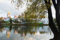 Novodevichy Convent in the pond with reflection. 2016 royalty free stock photos