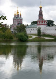 Novodevichy Convent reflects in the lake - portrai Stock Photo