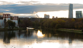 Novodevichy Convent and skyscrapers at sunset. 2016 stock photo