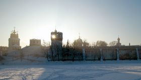 Novodevichy convent in snow. View of the Novodevichy convent in winter Stock Photography