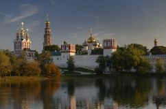 Novodevichy Convent at sunset Royalty Free Stock Photos