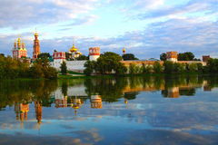 Novodevichy Convent at sunset, Moscow, Russia Royalty Free Stock Photos