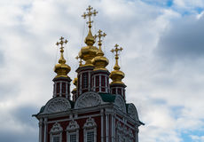 Novodevichy Convent tower. Against the blue sky royalty free stock photo