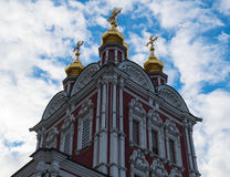 Novodevichy Convent tower. Blue sky 2016 stock images