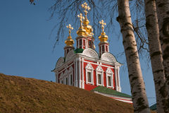 Novodevichy Monastery Church and birch Stock Photo