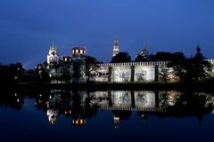 Novodevichy monastery. Evening in Moscow. Novodevichy Monastery, the type of the Moscow River. Evening in Moscow Stock Photos