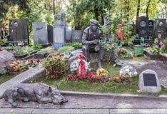 Novodevichye Cemetery. Grave actor Yuri Nikulin Royalty Free Stock Photo