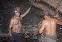 Novogrodovka, Ucraina - 18 gennaio, 2013: I minatori costruiscono più Fotografie Stock