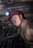 Novogrodovka, Ukraine - January, 18, 2013: Miner in the workplace in the mine 1/3 Novogrodovskaya at a depth of 800 meters below Royalty Free Stock Image