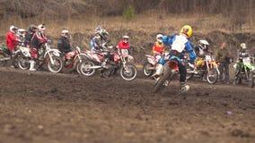 Novokuzneck,俄罗斯- 21 04 2018年:摩托车越野赛竞争 股票录像