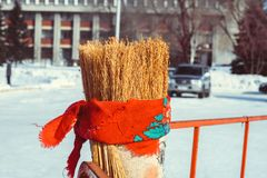 Novokuzneck,俄罗斯- 18 02 2018年:Maslenitsa肖象  免版税库存照片