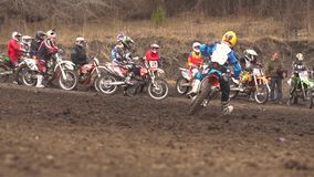 Novokuzneck, Rusland - 21 04 2018: motocrosscompetities stock videobeelden