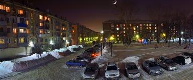 Novokuznetsk Rosja, Styczeń, - 31, 2017: Moonlit noc nad Obraz Stock